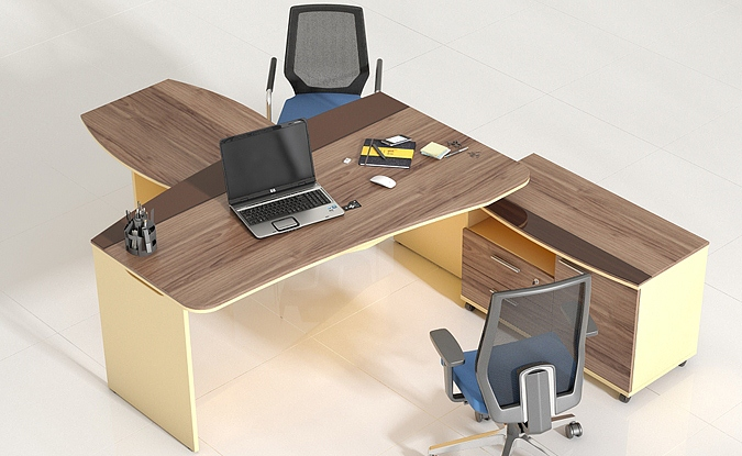 Красивый кабинет руководителя Flash в цвете орех
