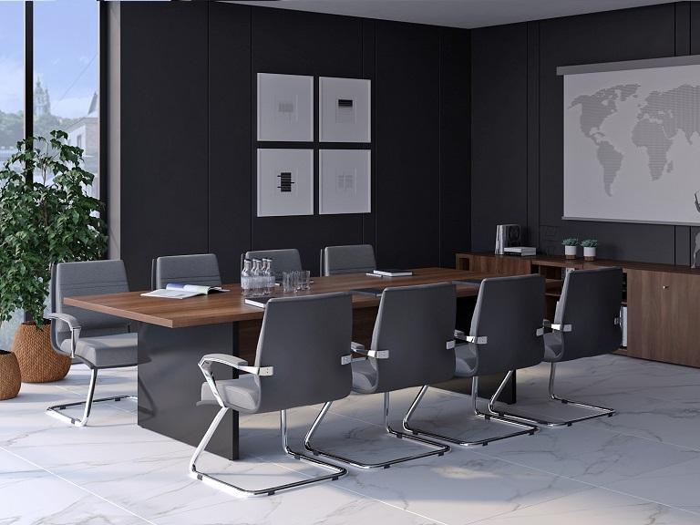 Прямоугольный переговорный стол черный глянец/аида Глосс