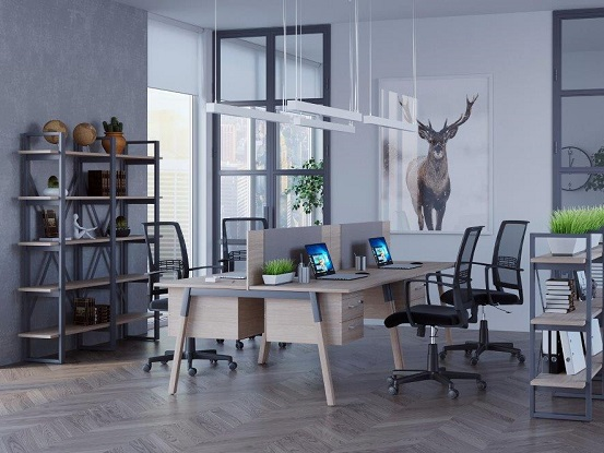 Офісні столи з перегородками Wood дерево