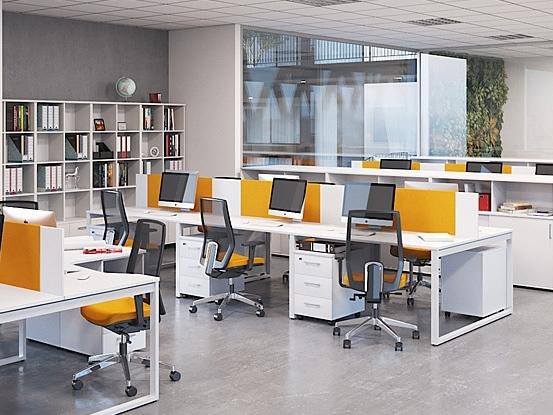 Білі офісні столи з перегородками на 6 чоловік