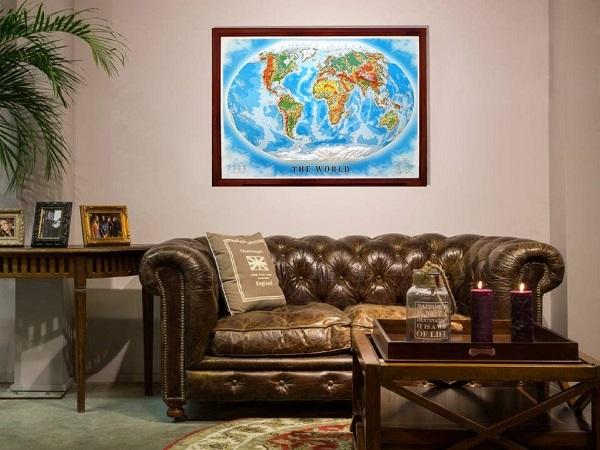 Декоративная большая карта на стену в кабинет