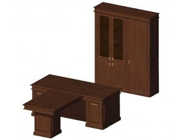 Стол руководителя Классика с приставкой и шкафом