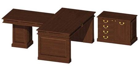 Письменный стол руководителя с приставным столом и тумбой
