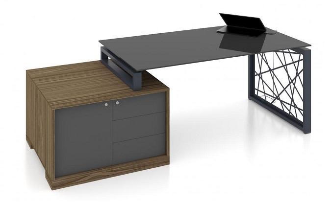Стеклянный стол руководителя Райз цена фото