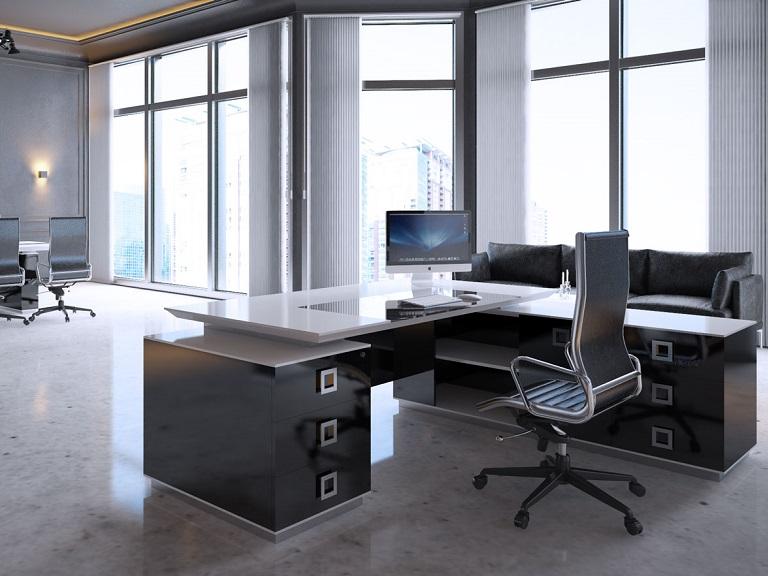 Черно-белый стол в кабинет руководителя Морион