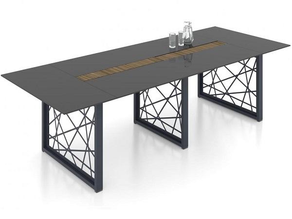 Стол переговоров из стекла и металла Райз