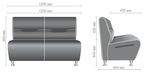 Размеры офисного дивана для посетителей Комби