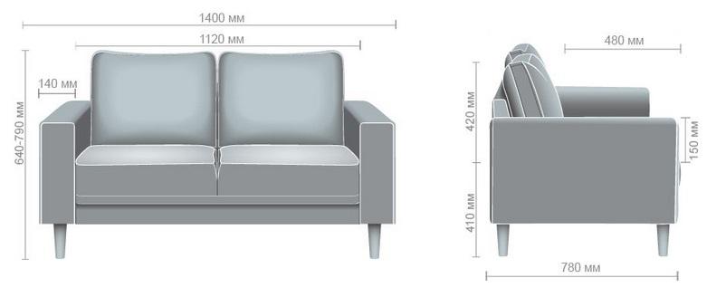 Габариты офисного тканевого дивана Моне 2