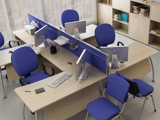 Офісні столи техно з тканинними перегородками