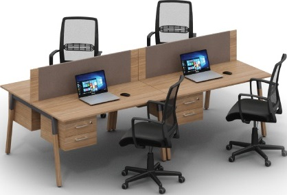 4 офисных стола с ножками из дерева Wood
