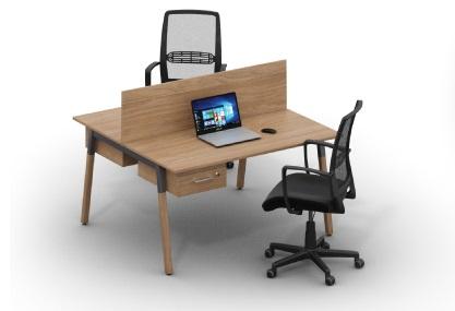 Двойной письменный стол с деревянными ножками